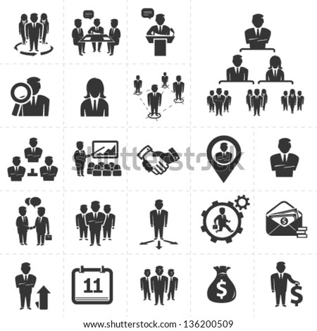 business and management icons set - stock vector