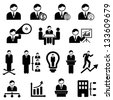Business and management icons with businessman - stock photo