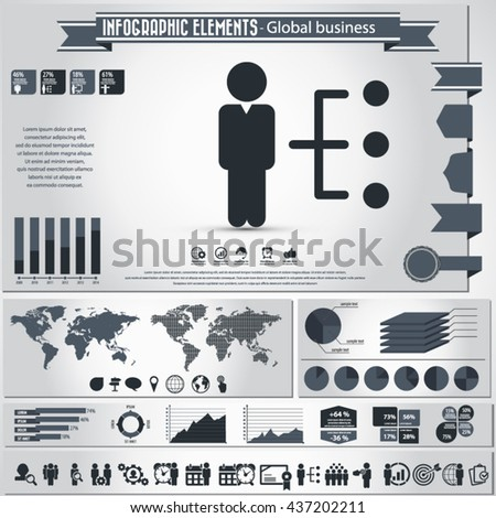 Business and management - infographic elements ans icon set. EPS10 vector - stock vector