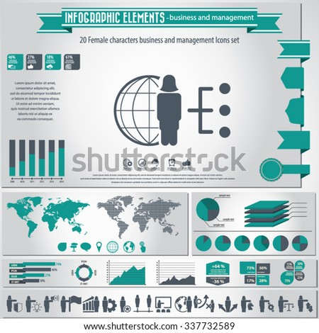 Business and management - woman, female characters infographic elements and icons set. - stock vector