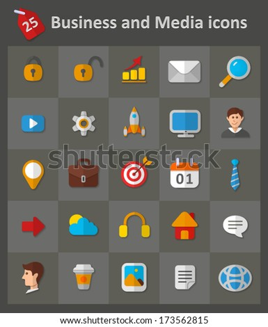 Business and Media Icons. Vector set of flat icons.