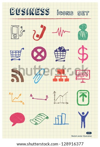 Business and media web icons set drawn by color pencils. Hand drawn vector elements pack isolated on paper