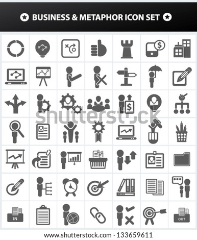 Business and Metaphor,human resource,management for firm icon set,vector - stock vector