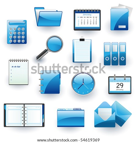 business and office icon set - stock vector
