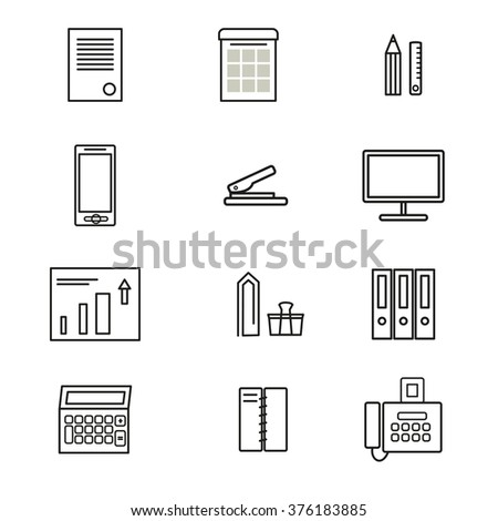 Business and office icon set. Thin black line icons. Office supplies. Minimal and clean style. Fax and smartphone, business chart and personal computer, etc. Vector illustration for modern design. - stock vector