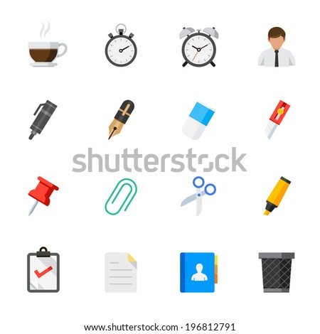 Business and Office Icons : Flat Icon Set for Web and Mobile Application - stock vector