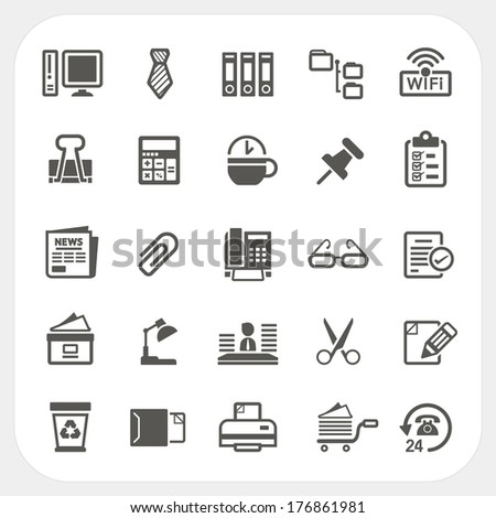 Business and Office icons set - stock vector