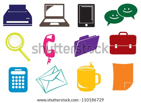 Business and office icons set in different colors - stock vector