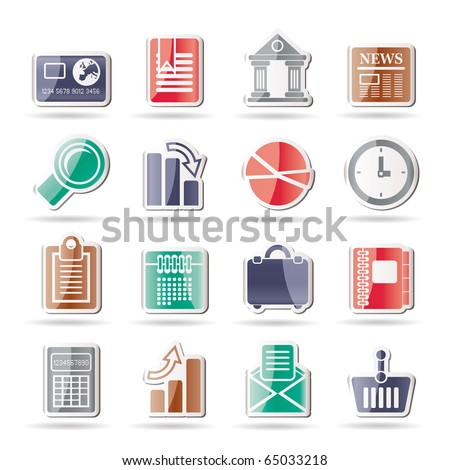 Business and Office Realistic Internet Icons - Vector Icon Set 3 - stock vector