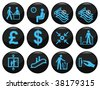 Business and office related black icon set - stock photo