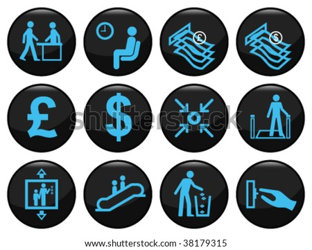 Business and office related black icon set - stock vector