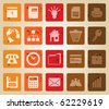Business and office set of different vector web icons. Retro style. - stock vector