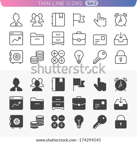 Business and office set. Trendy line icons for web and mobile. Normal and enable state. - stock vector