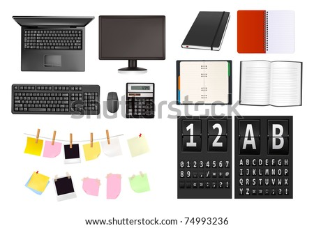 Business and office supplies and alphabet of black mechanical panel. Vector illustration. - stock vector