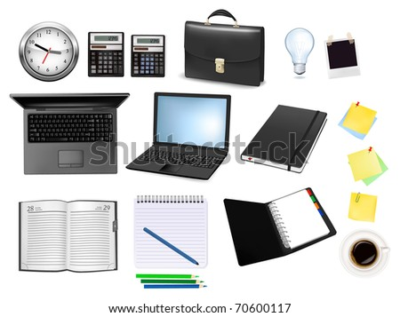 Business and office supplies. Vector illustration. - stock vector