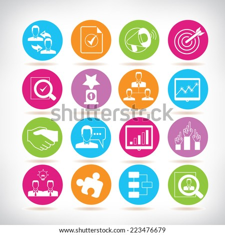 business and organization management icons, colorful circle buttons set - stock vector