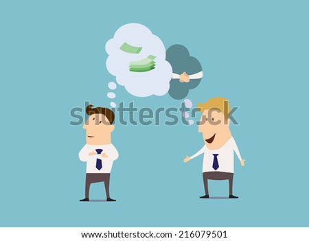 Business and partnership flat concept with cartoon businessmen, comics speech bubble and money. For business design - stock vector