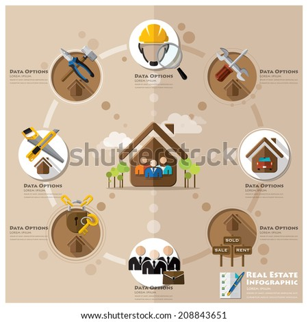 Business And Real Estate Flat Icon Infographic Design Template - stock vector