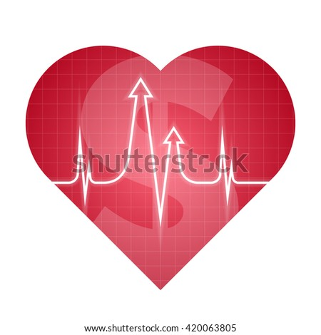 Business and science heart pulse concept. Vector illustration of medical and finance development process. Isolated red heart silhouette, heartbeat line with arrows shape. For internet, social networks - stock vector