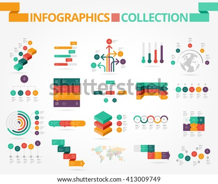 Business and social infographics design elements. Vector illustration. - stock vector