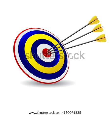 Business and Sports concept with three 3d arrows in bullseye. Arrow Hitting A Target, Isolated On White Background  - stock vector