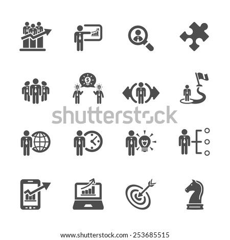 business and strategy icon set 3, vector eps10. - stock vector