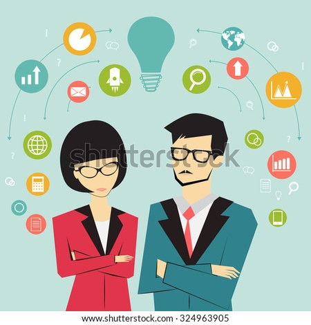 business and teamwork concept - stock vector