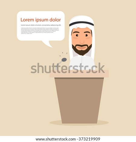 Business arab man  with speech bubble communicating. people character. - stock vector