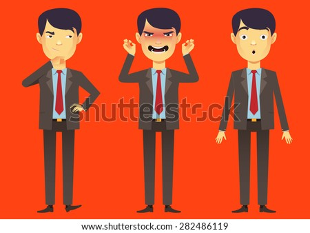 Business asian man character cartoon vector - stock vector