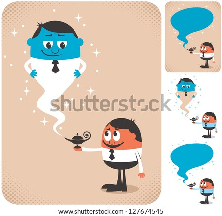 Business Assistant 2: Businessman calling genie to assist him. The illustration is in 4 different versions. - stock vector