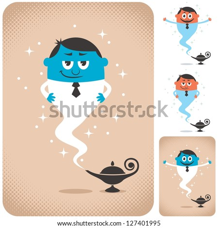 Business Assistant: Genie coming out of magic lamp. The illustration is in 4 different versions. - stock vector