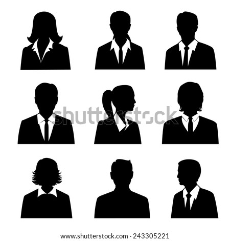 Business avatars set with males and females businesspeople silhouettes isolated vector illustration - stock vector
