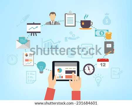 Business background - can be used to illustrate time management, task organization or planning a meeting or teambuilding. - stock vector