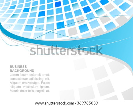 Business background with blue abstract square mosaic. Vector illustration with place for your text or creative editing.