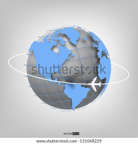 Business background with globe of the world and airplane. EPS10 vector illustration. - stock vector