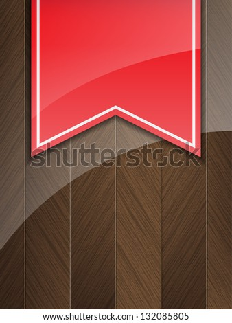 Business background with wood insertion and a red vintage ribbon. (Vector)