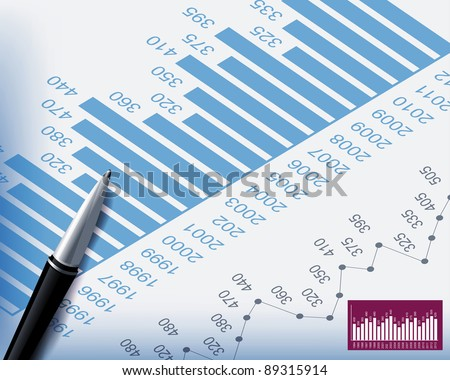 Business backgrounds graphs and stationary pen - stock vector