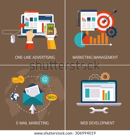 Business banners. Online advertising, email marketing, web development, marketing management. Vector flat style - stock vector