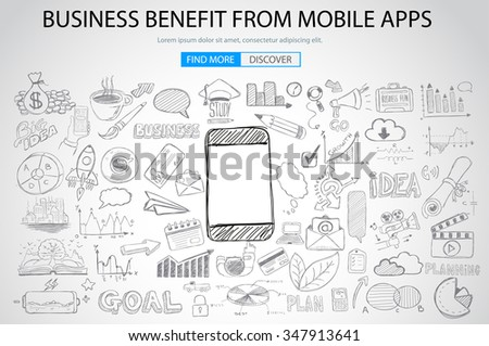 Business Benefit From Mobile concept with Doodle design style :reaching more customers, promotions, creative designs. Modern style illustration for web banners, brochure and flyers. - stock vector