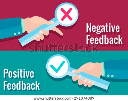 Business black hand thumb up with true and false sign. Vector illustration of positive and negative feedback concept. Vector flat design - stock vector