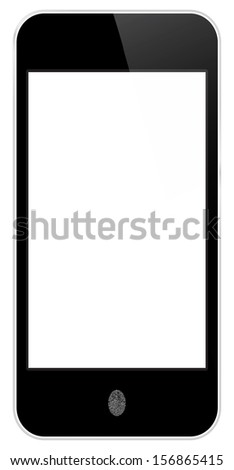 Business Black Smart Phone In iPhone Style With Fingerprint Access - stock vector