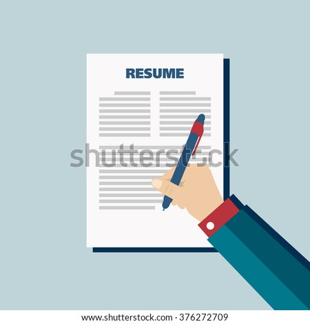 Business blue background with resume, vector - stock vector