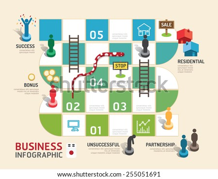 Business board game concept infographic step to success,vector illustration - stock vector