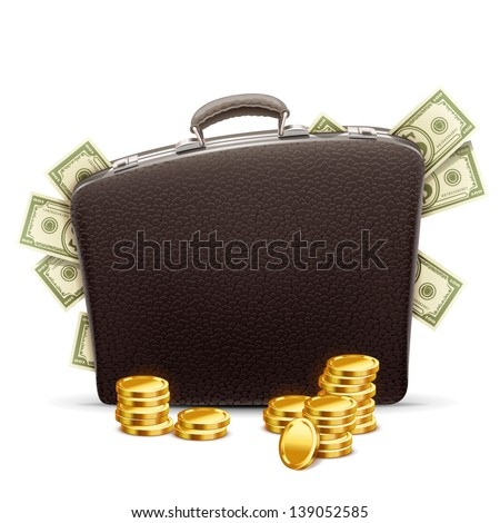 business briefcase full of money - stock vector
