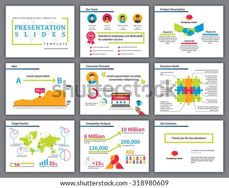 Business  bright and colourful infographics presentation slides template with flat illustrations of handshake, competition, laptop, diagrams and chart - stock vector
