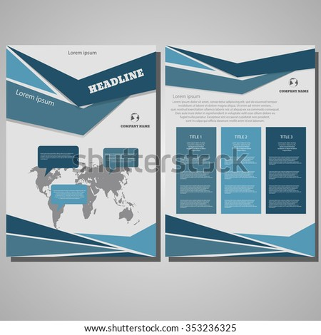 Business Brochure design Layout template, size A4, Front page and back page design eps 10 - stock vector