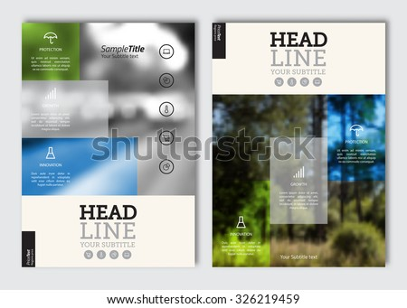 Business brochure design template. Vector flyer layout, blur background with elements for magazine, cover, poster design. A4 size. - stock vector