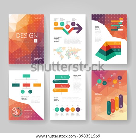 Business brochure design template with infographics. Vector illustration. - stock vector