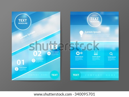 Business brochure flyer design layout template in A4 size, With blurred of blue sea and clouds on sky background, Vector illustration modern design - stock vector