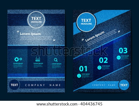 Business brochure flyer design layout template in A4 size, With texture of jeans background, Vector illustration modern design - stock vector